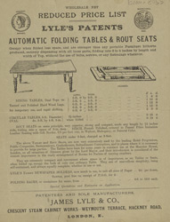 Advert For Lyles's Automatic Foldding Tables
